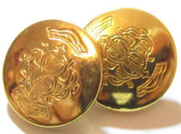 Beautiful Vintage Gold Plated Ornate Detailing With Crowns Pair Of Buttons*A306 - Jewel Eureka