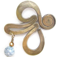 Unique Artisan Bronze Brass Styalized Blue Dangle Bead Vintage Brooch Pin*D907 - Jewel Eureka