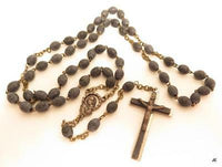 Vintage Blue Carved Wooden Bead Silver Plated Art Deco Rosary Bead Necklace*A707