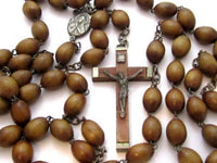 "Large Beautiful Antique Wooden Bead Christian Rosary Bead Necklace*Italy*42""*A344 - Jewel Eureka"
