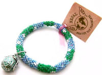 Beautiful Blue & Green Glass Prayer Box Bracelet*Green Enamel Pot Charm*D739 - Jewel Eureka