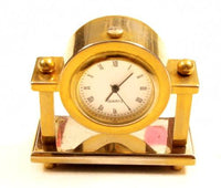 Small Signed Clock Vintage Gold Plated Quartz Crystal Office Table Watch*Y958 - Jewel Eureka