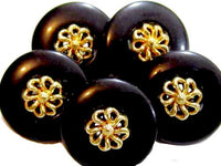 Vintage 12Mm Pretty Black Plastic Gold Toned Flower Accent Lot Of 5 Buttons*S671 - Jewel Eureka