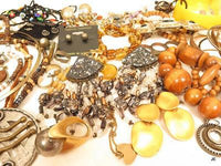 1lb7oz Brass Wood Glass Necklaces,Maxine Denker Vintage Mod Jewelry Lot*A618