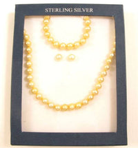 Boxed Sterling Silver Yellow Fx Pearl Necklace Bracelet Stud Earrings Set*Y809