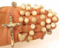Old Vintage Large Mother of Pearl Bead Sterling Silver Rosary Bead Necklace*F240
