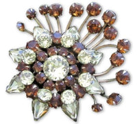 Vintage Star Citrine & Topaz Rhinestone Crystal Gold Tn Juliana Brooch Pin*A450 - Jewel Eureka