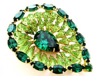 Stunning Tiered Light & Dark Green Vintage Rhinestone Teardrop Brooch Pin*A448 - Jewel Eureka