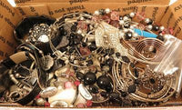 1lb13oz Black & Silver Glass Marcasite Rhinestone Beautiful Jewelry Lot*A621