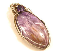 Artisan Oval Violet Charoite Gemstone Sterling Silver Necklace Pendant*925*X - Jewel Eureka