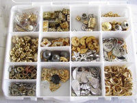 Vintage Box Gold Plated Craft Parts Components 338Pc Jewelry Design Lot*A271 - Jewel Eureka