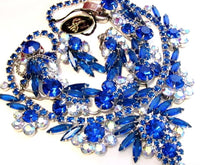 Pristine Tagged D&E Juliana Vintage Blue Rhinestone Necklace Bracelet Set*567D - Jewel Eureka