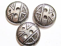 Vintage 13.5Mm Silver Toned Moderniste Abstract Face ? Antique Metal Button*S655 - Jewel Eureka
