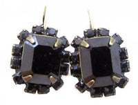 Liz Palacios Highend Signed Black Swarovski Rhinestone 14K Gf Wire Earrings*D657 - Jewel Eureka