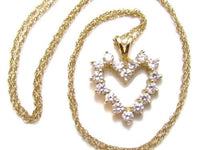"14K Cz Brilliant Heart Shaped Pendant With 18"" Solid Gold Chain Necklace*E263 - Jewel Eureka"