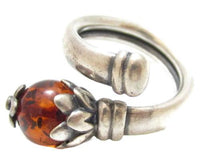Genuine Amber Vintage Sterling Silver Artisan Flower Wrap Ring*925*Adjustable Size*E366 - Jewel Eureka