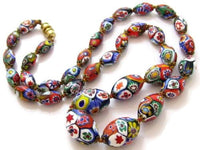 Vintage Art Deco Venetian Murano Glass Millefiore Bead Graduated Necklace*570D - Jewel Eureka