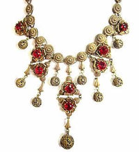 Rare 1920'S Old Vintage Art Deco Garnet Red Rhinestone Floral Necklace*Patented - Jewel Eureka