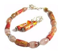 CLEAR & RED COLORED GEMSTONE WITH RED FLORAL DESIGN WOOD BRACELET EARRING SET*Y176