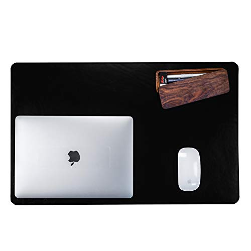 "Leather Desk Pad Protector,Mouse Pad,Office Desk Mat,Non-Slip PU Leather Desk Blotter,Laptop Desk Pad,Waterproof Desk Writing Pad for Office and Home (Black,23.6"" x 13.7"")"