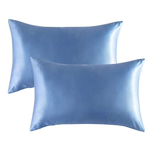 Bedsure Satin Pillowcase for Hair and Skin, 2-Pack - Standard Size (20x26 inches) Pillow Cases - Satin Pillow Covers with Envelope Closure, Airy Blue