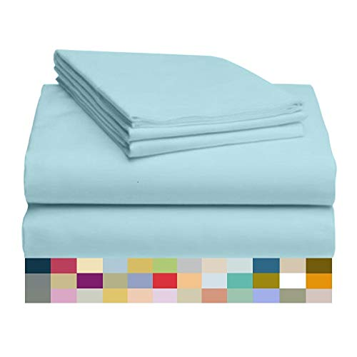 "LuxClub 4 PC Sheet Set Bamboo Sheets Deep Pockets 18"" Eco Friendly Wrinkle Free Sheets Hypoallergenic Anti-Bacteria Machine Washable Hotel Bedding Silky Soft - Aqua Twin"