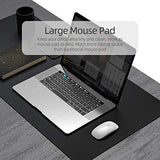 "YSAGi Multifunctional Office Desk Pad, 23.6"" x 13.7"" Ultra Thin Waterproof PU Leather Mouse Pad, Dual Use Desk Writing Mat for Office/Home (23.6"" x 13.7"", Black)"