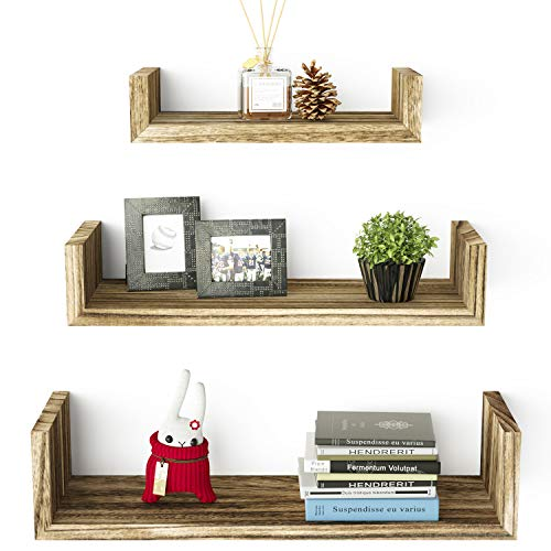 SRIWATANA Floating Shelves Wall Mounted, Solid Wood Wall Shelves, Carbonized Black