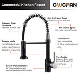 OWOFAN Low Lead Modern Single Handle Pull Down Sprayer Spring Kitchen Faucet, Brass Black&Brushed Nickel Kitchen Sink Faucets