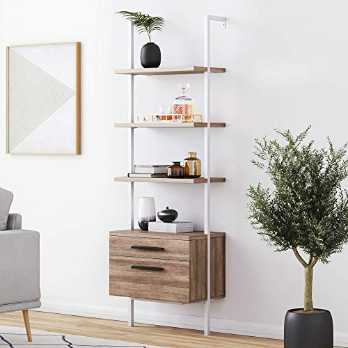 Nathan James Theo Industrial Bookshelf with Wood Drawers and Matte Steel Frame, 3-Shelf, Oak/White
