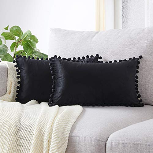 Top Finel Decorative Throw Pillow Covers with Pom Poms Soft Particles Velvet Solid Cushion Covers 12 X 20 for Couch Bedroom Car, Pack of 2, Black