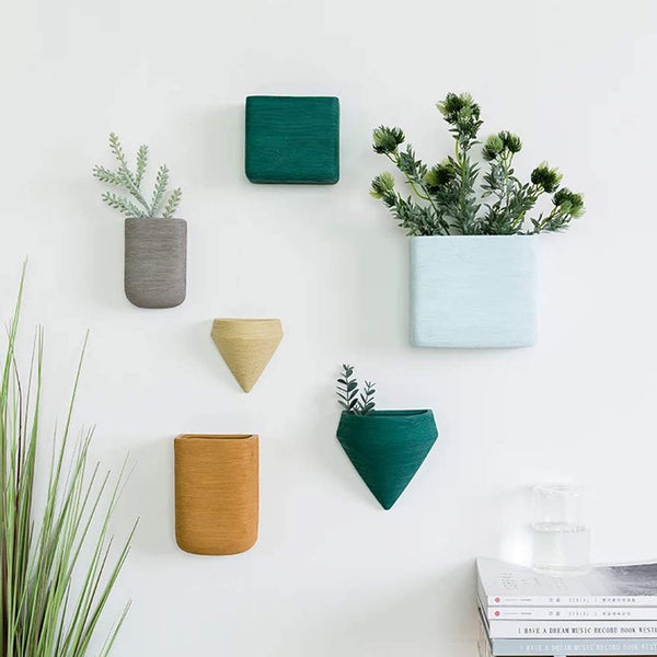 Shop Wall Decor Planters 6 Set Morandi Color Ceramic Hanging Geometric Wall Decor Container - Great Succulent Plants, Air Plant, Faux Plants -  Accessories For A Happy Trendy Modern Home at Low Prices  Color Home Happy
