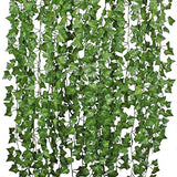 DearHouse 12 Strands Artificial Ivy Leaf Plants Vine Hanging Garland Fake Foliage Flowers Home Kitchen Garden Office Wedding Wall Decor, 84 Feet, Green