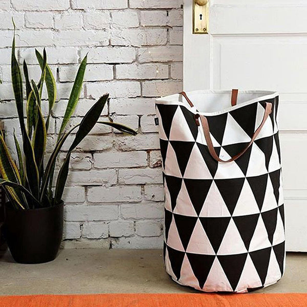 Geometric Canvas Storage Bin with Leather Handles