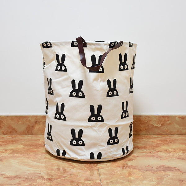 Bunny Canvas Storage Bin with Leather Handles
