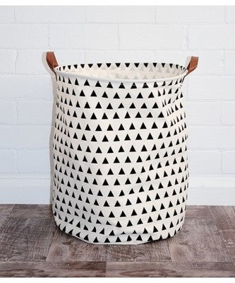 Shop Triangles Canvas Storage Bin with Leather Handles -  Accessories For A Happy Trendy Modern Home at Low Prices  Color Home Happy - Accessories for a happy modern home