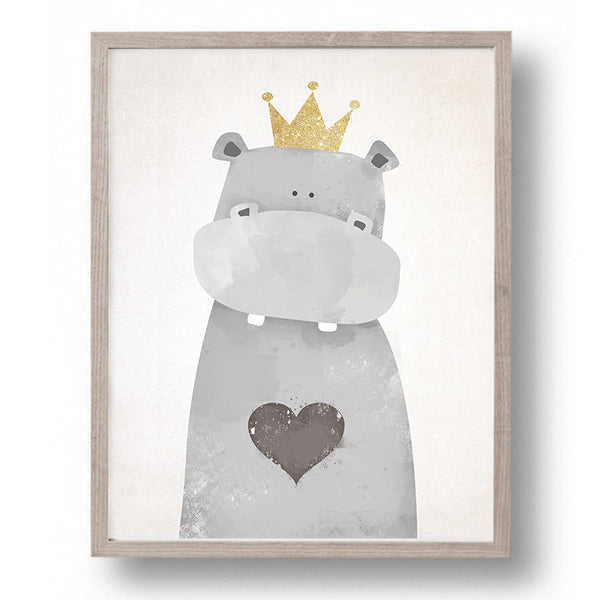 Unframed Hippo Canvas Art Print