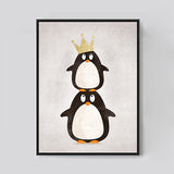 Shop Unframed 2 Penguins Canvas Art Print -  Accessories For A Happy Trendy Modern Home at Low Prices  Color Home Happy - Accessories for a happy modern home