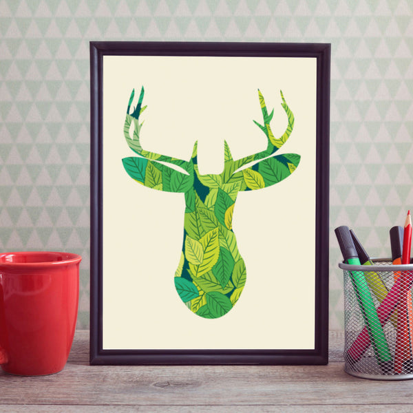Shop Unframed Deer Art Print -  Accessories For A Happy Trendy Modern Home at Low Prices  Color Home Happy