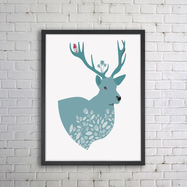 Shop Unframed Moose Art Print -  Accessories For A Happy Trendy Modern Home at Low Prices  Color Home Happy - Accessories for a happy modern home