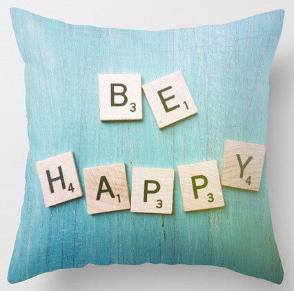 Shop Be Happy Throw Pillow -  Accessories For A Happy Trendy Modern Home at Low Prices  Color Home Happy