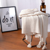 Shop Tassel Poms Cozy Blanket -  Accessories For A Happy Trendy Modern Home at Low Prices  Color Home Happy - Accessories for a happy modern home