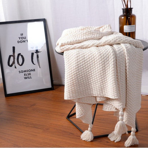 Shop Tassel Poms Cozy Blanket -  Accessories For A Happy Trendy Modern Home at Low Prices  Color Home Happy