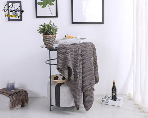 Shop 100% Cotton Knitted Tassel Blanket -  Accessories For A Happy Trendy Modern Home at Low Prices  Color Home Happy - Accessories for a happy modern home