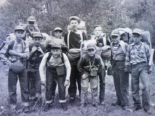 Alan in the middle of his Boy Scout troop heading off on a three day wilderness expedition.  C. 1949, Preston Idaho.