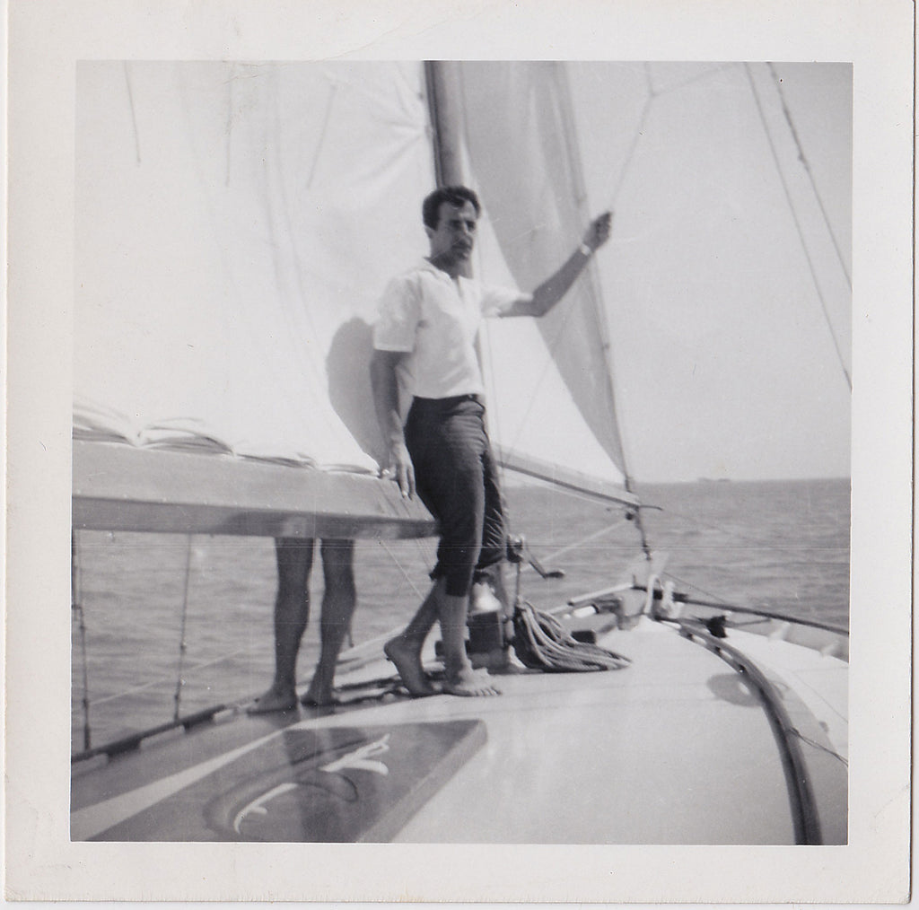 Two Men Sailing, Lot of Two Vintage Photos