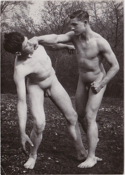 Vintage Physique Photo: Nude Men Mock Fighting