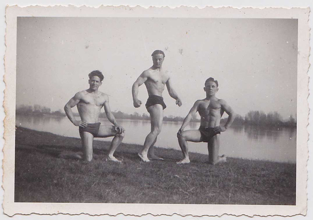 Vintage Snapshot: Three Bodybuilders Posing by River