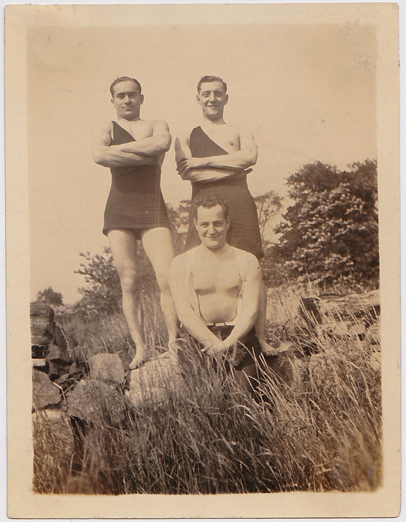 Undated pair of vintage sepia photos, three studly guys outdoors.