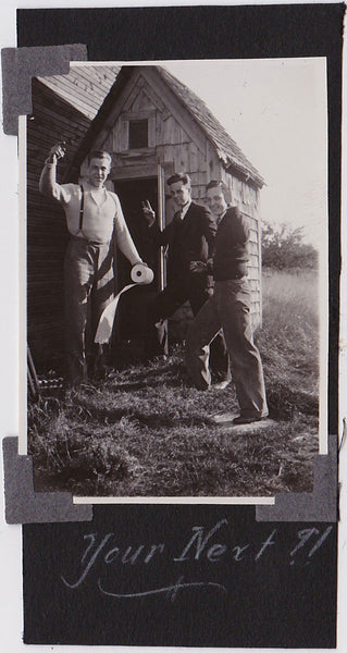 3 men standing in front of the out house vintage snapshot